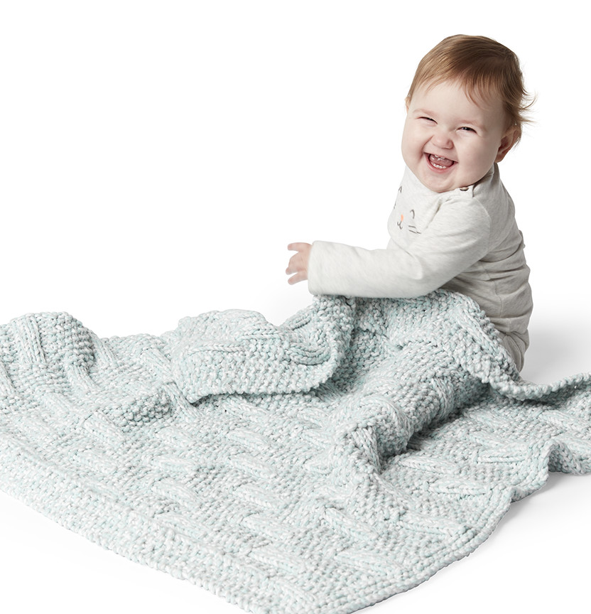 Bernat Baby Marly Knit Block Stitch Baby Blanket Project