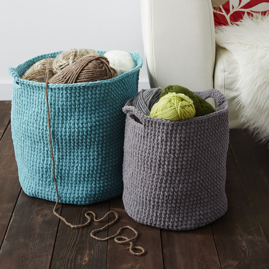 Bernat Blanket Stash Basket Project
