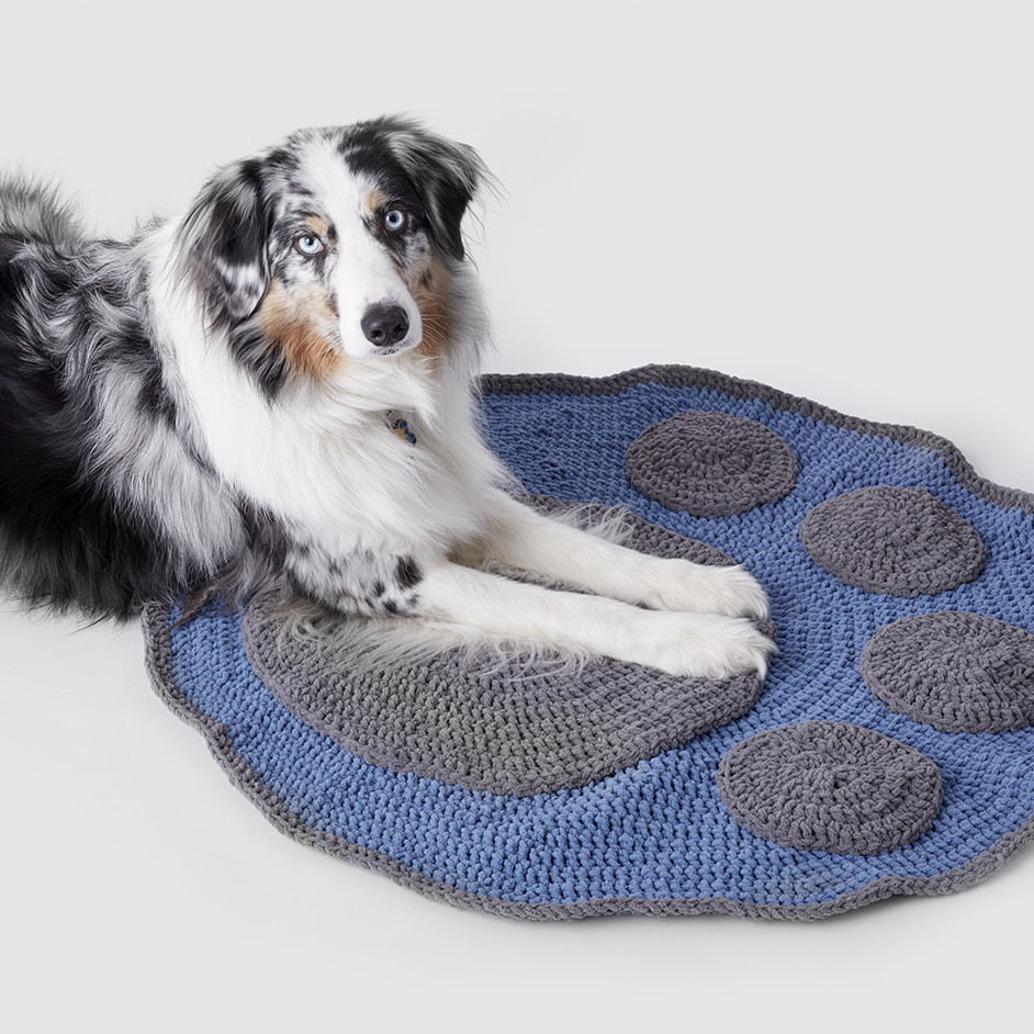 Bernat Pet Crochet Paw Blanket Project