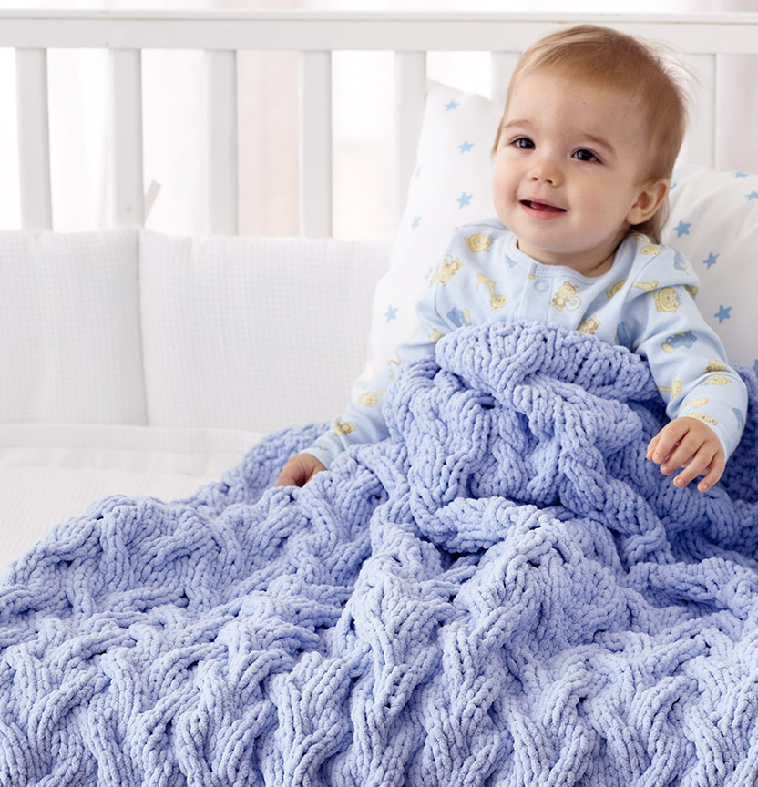 Bernat Shadow Cable Baby Blanket Project