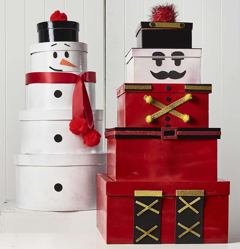 Box Snowman and Nutcracker Project