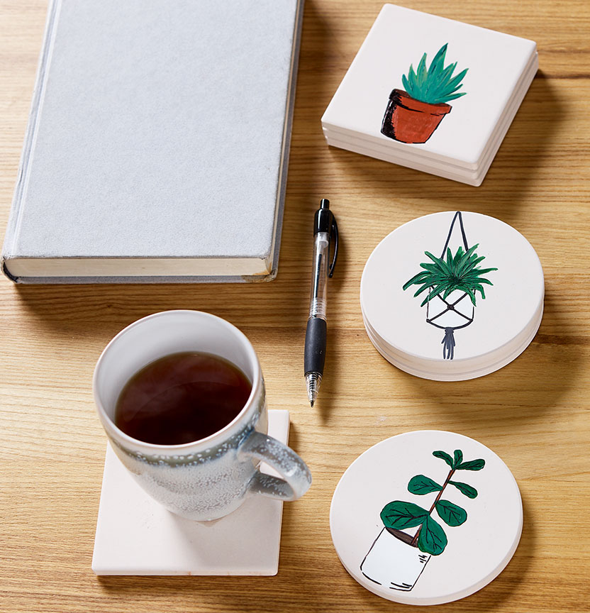 Ceramic Plant Coasters Project
