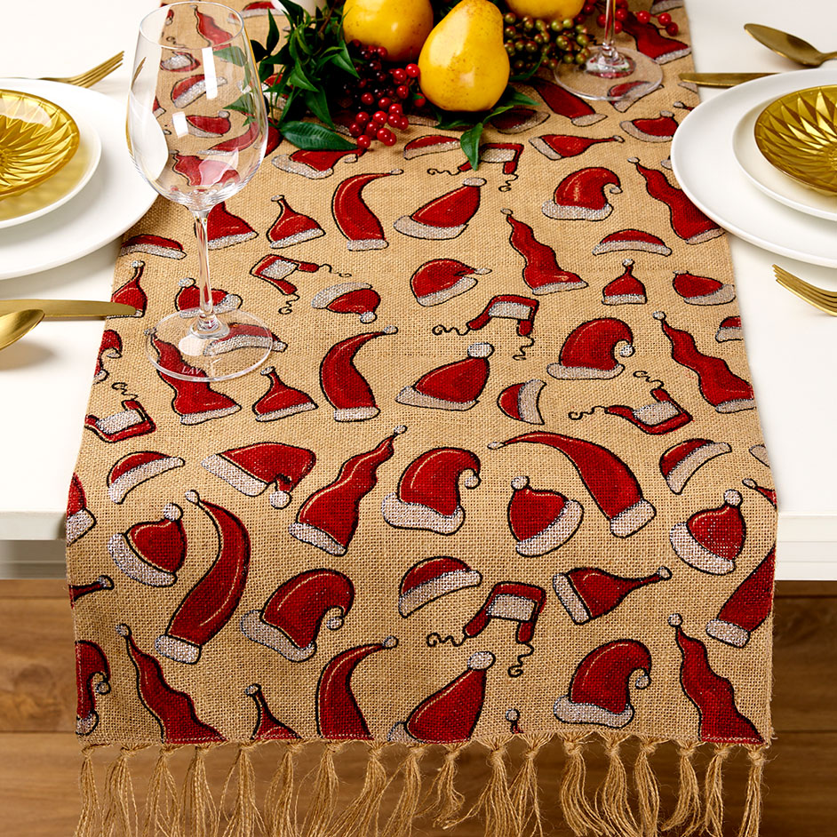 Christmas Santa Hat Hessian Table Runner Project