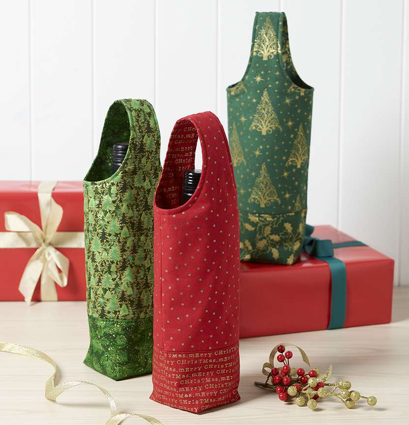 Christmas Wine Bottle Bag Project
