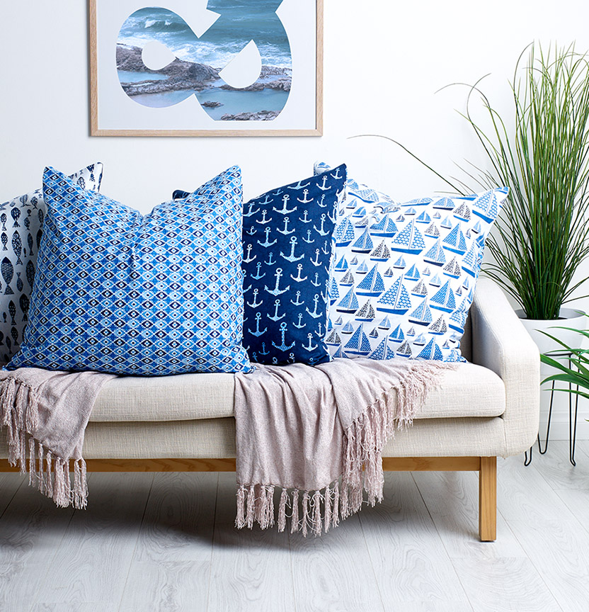 Deep Sea Blues Cushion Project