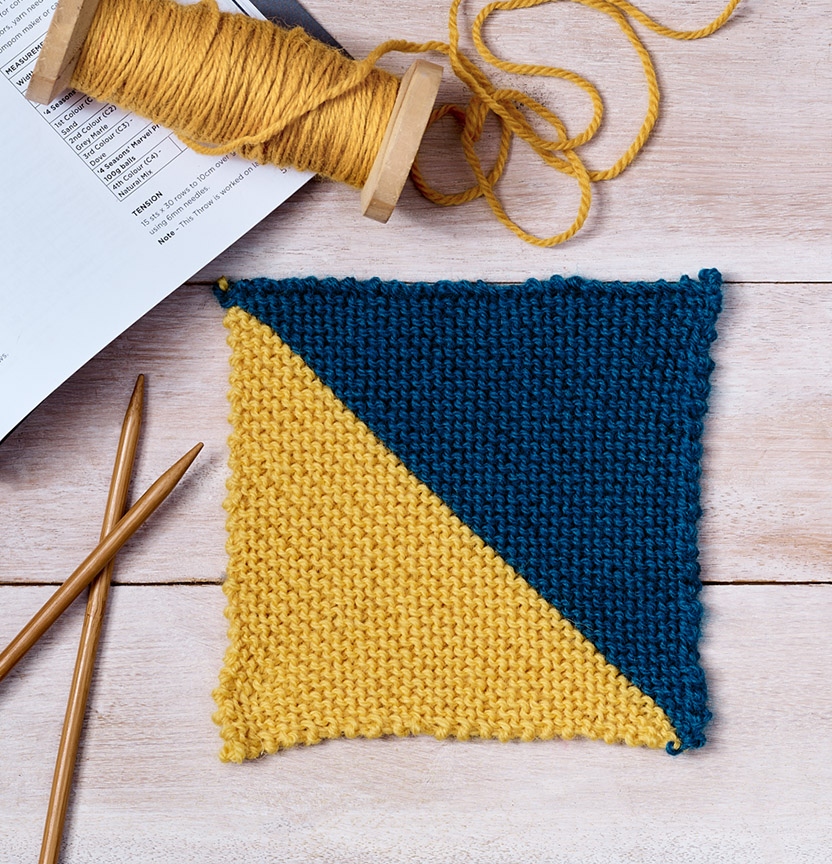 Diagonal Knit Blanket Square Project
