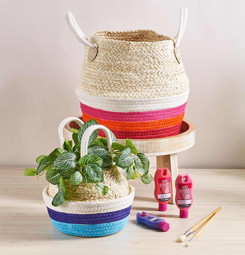 DIY Painted Rope Baskets Project
