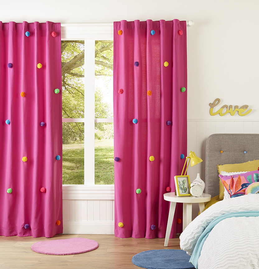 DIY Pink Pom Pom Kids Curtain Project