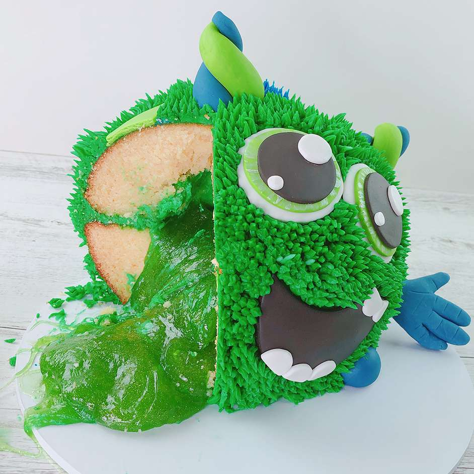Edible Green Slime Monster Cake Project