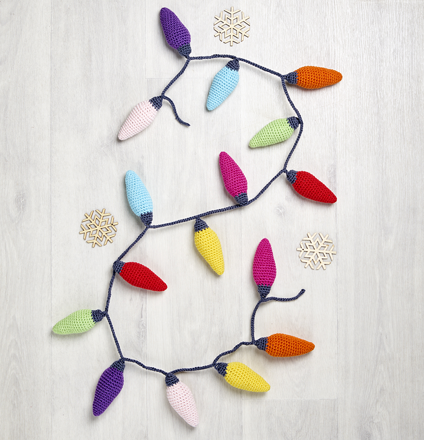 Flinders Cotton Crochet Christmas Light Garland Project