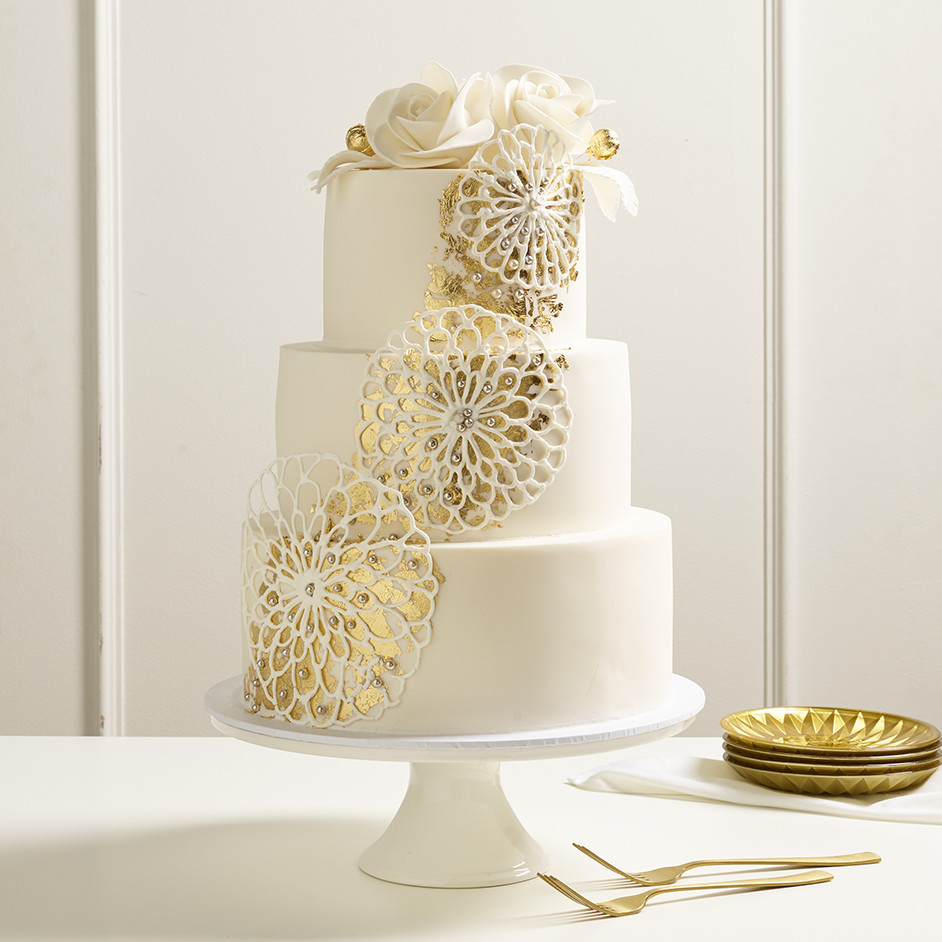 Fondant and Gold Leaf 3 Tier Cake Project