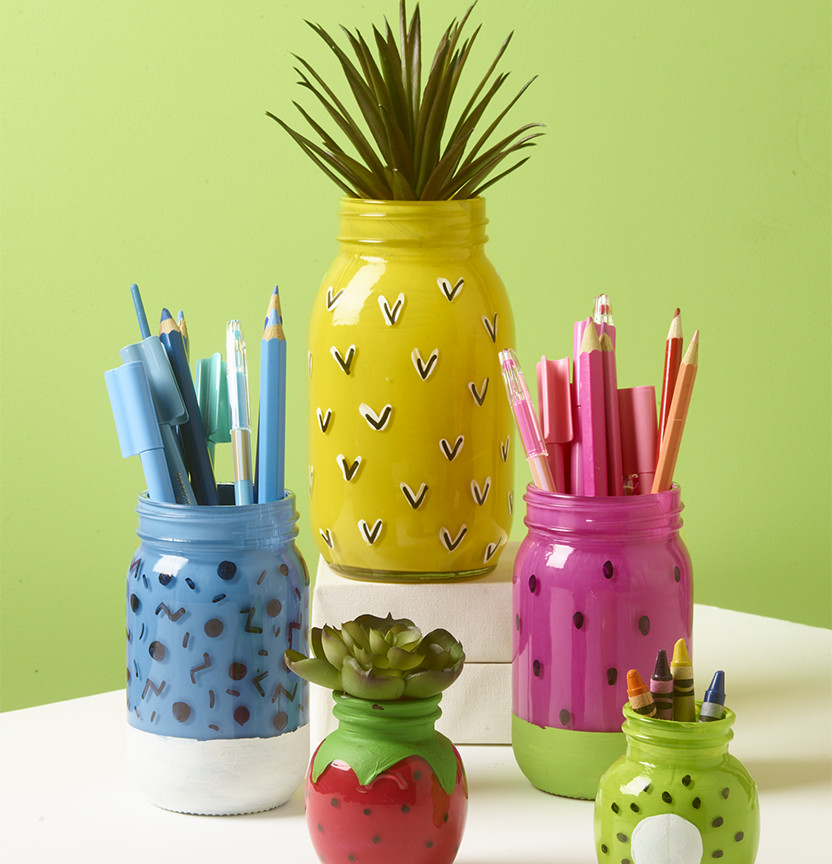 Fruit Painted Glass Jars Project