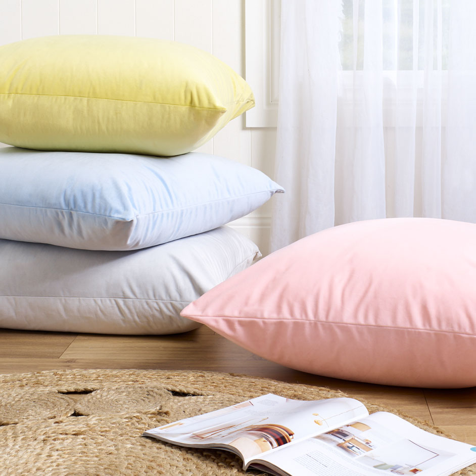 Gelena Velvet Pastel Stack Cushions Project