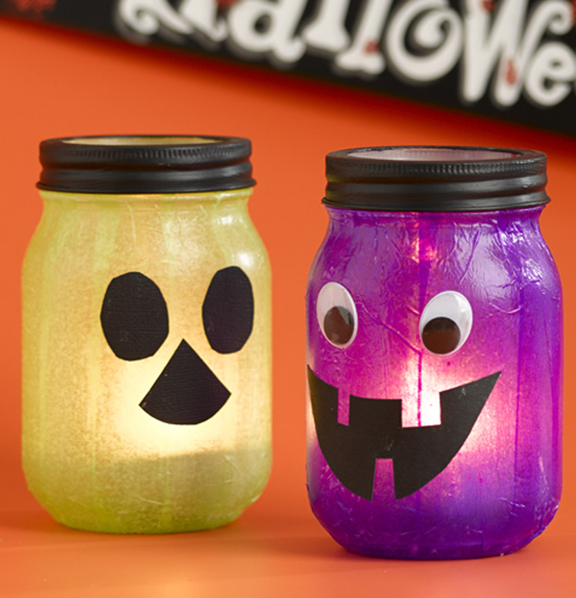 Halloween Tea Light Candle Jars Project