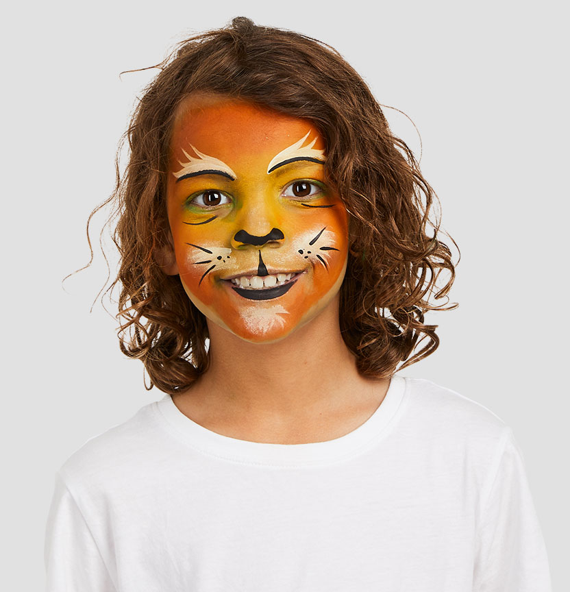 Kids Tiger Face Paint Project