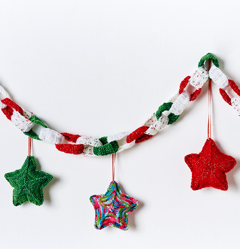 Kringle Sparkle Crochet Garland & Knit Stars Project
