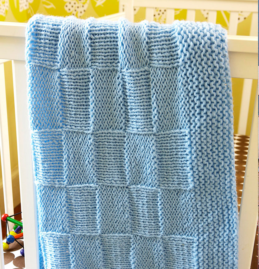 Lion Brand Baby Soft Basketweave Baby Blanket Project