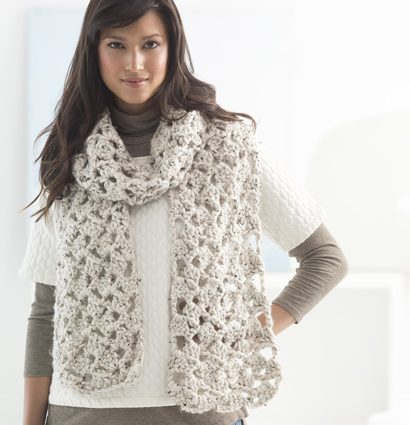 Lion Brand Hometown USA Crochet Lacy Scarf Project