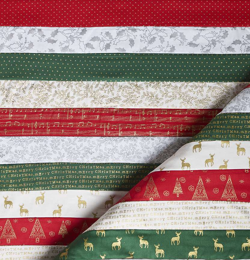 Metallic Christmas Jelly Roll Rag Quilt Project