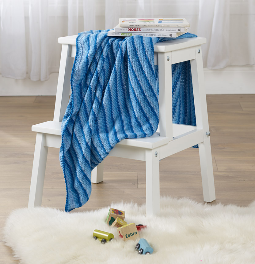 Ombre Delights Stocking Stitch Cot Blanket Project