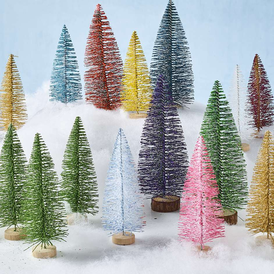 Painted Bottle Brush Trees Project