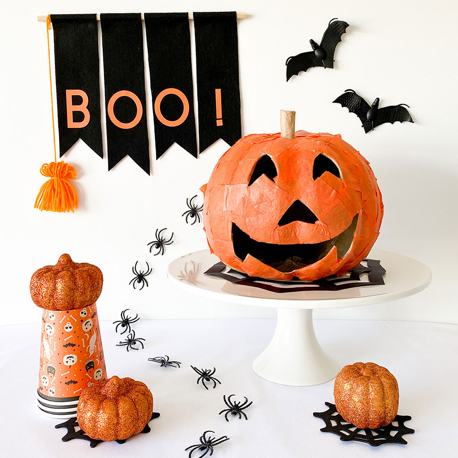 Papier Mache Halloween Pumpkin Project
