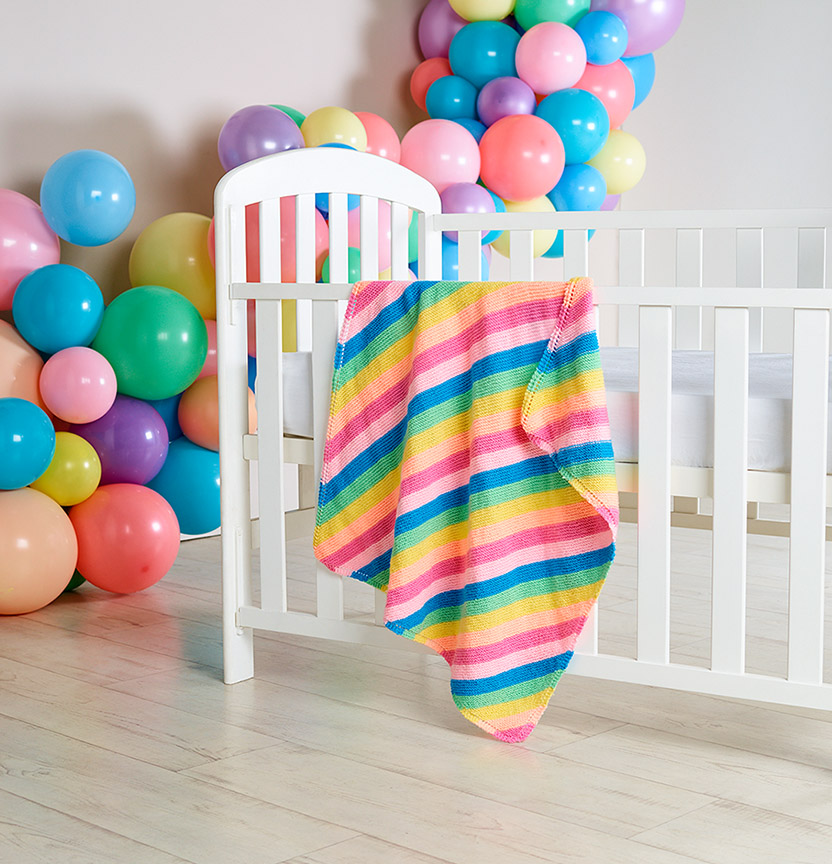 Pony Rainbow Stripe Cot Blanket