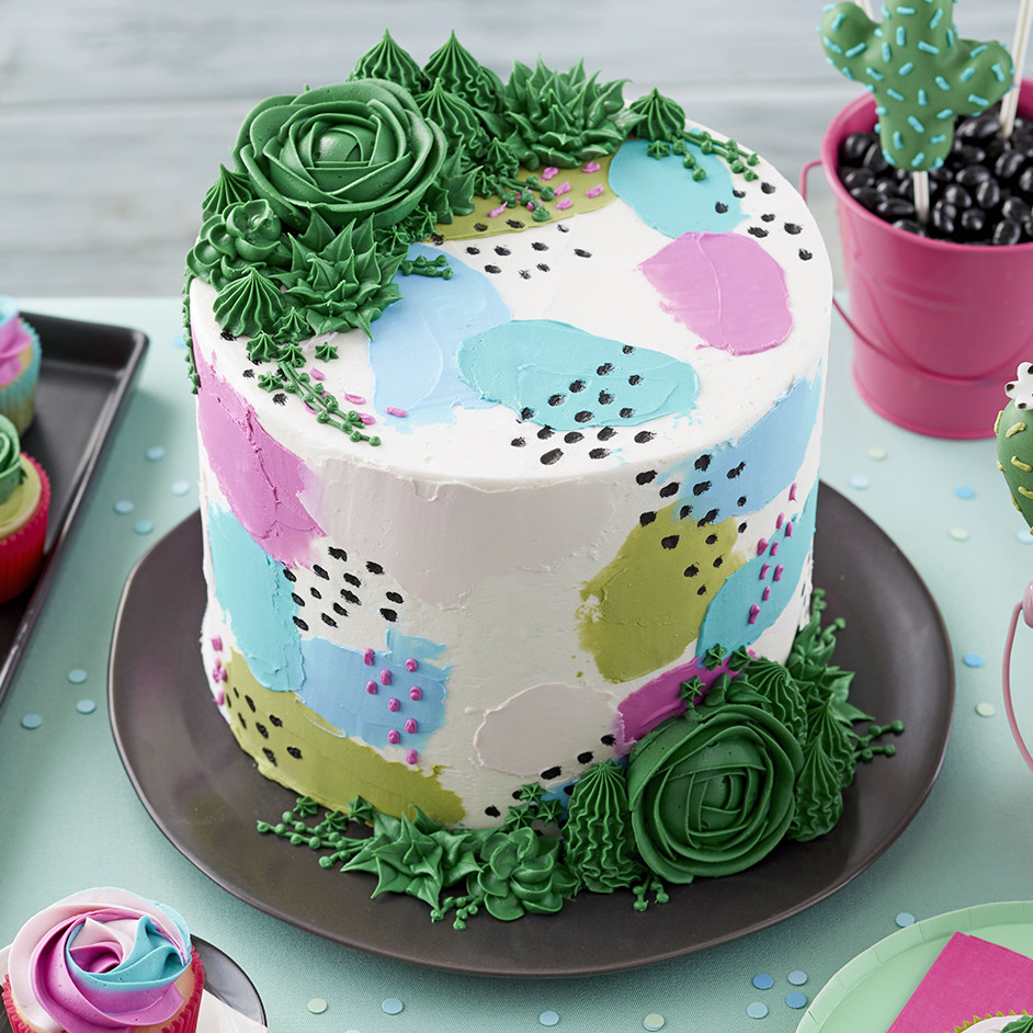 Pretty Pastels & Succulents Cake Project