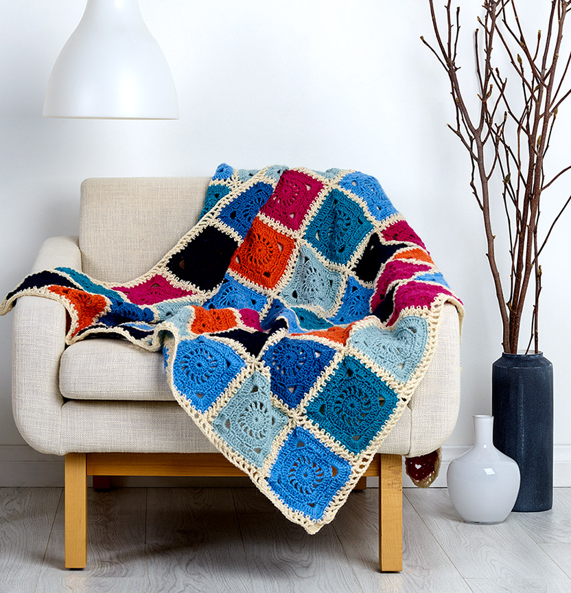 Pure Wool 8Ply Crochet Bohemian Throw Project