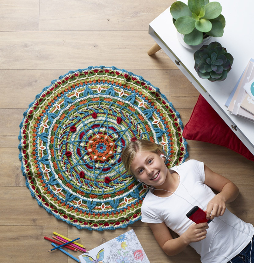 Pure Wool 8Ply Mandala Rug Project