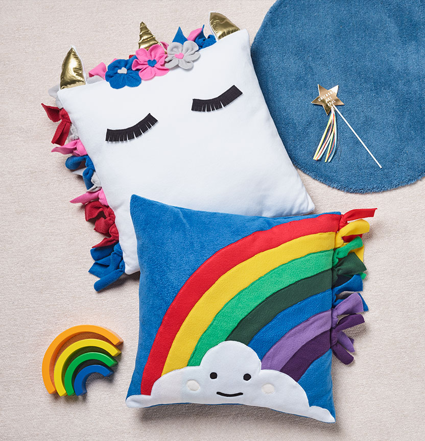 Rainbow and Unicorn Cushions Project