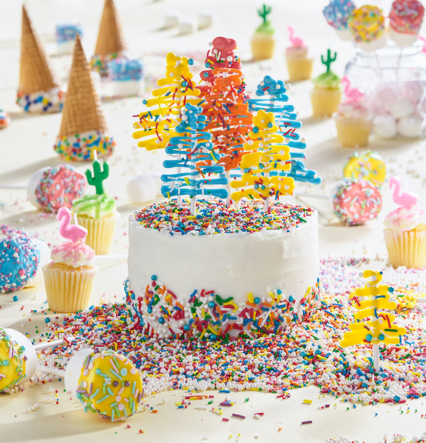 Sprinkle and Candy Melt Cake Project