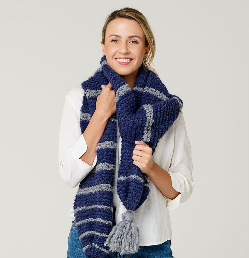 Truly Madly Mohair Striped Tassel Scarf Project
