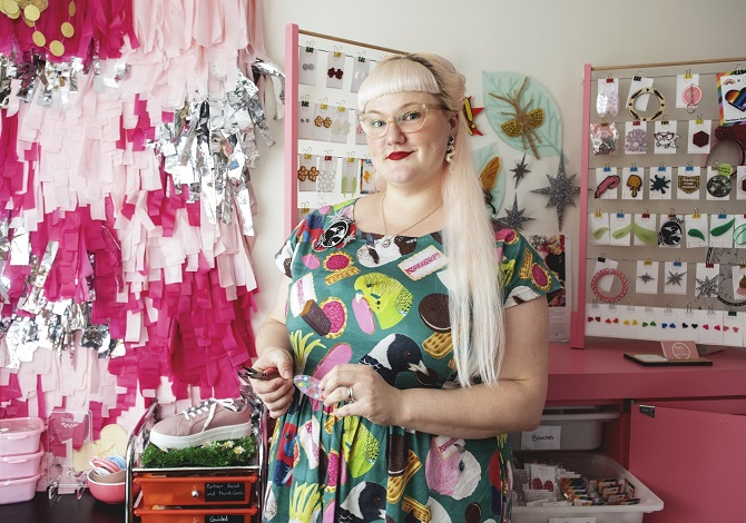 Where I craft: Kate's home studio is pink & sparkly & super-organised