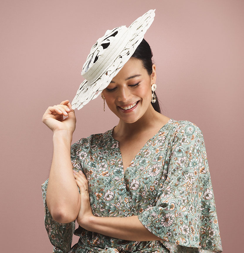 White Lattice Brimmed Hat Project