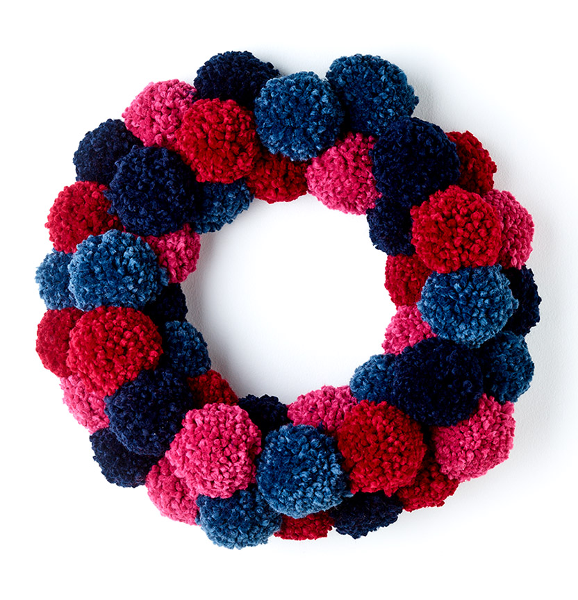 Wool Ease Thick & Quick Pom Pom Wreath Project
